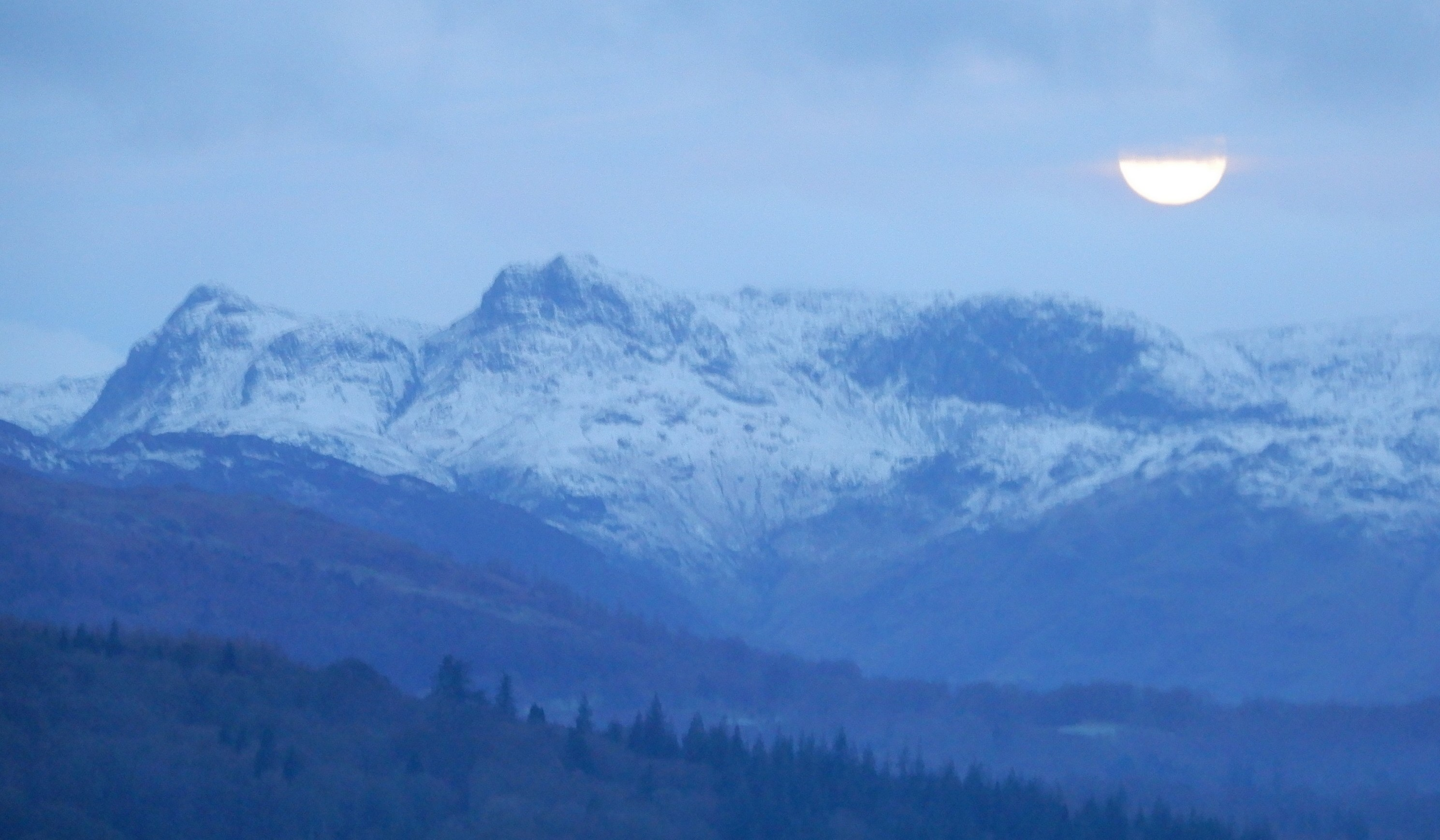 Early Morning Moon over Langdale