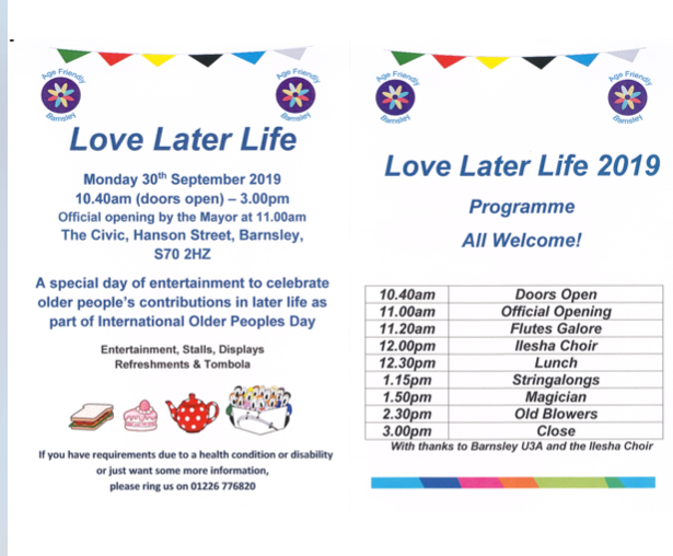 Love Later Life Event 30th September