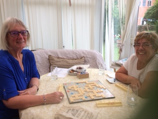 Enjoying a game of scrabble