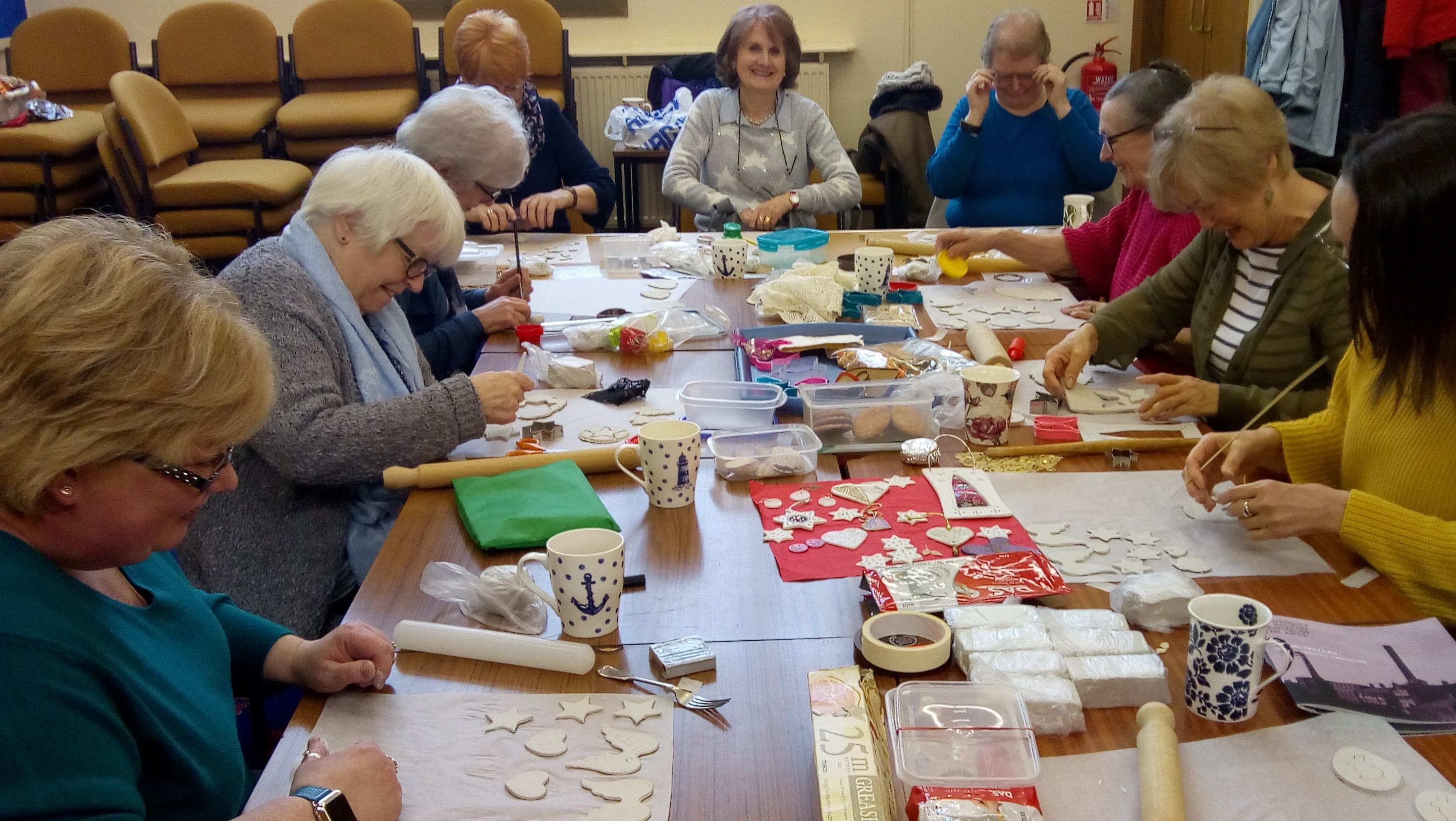 Stitch and Craft Group working with clay