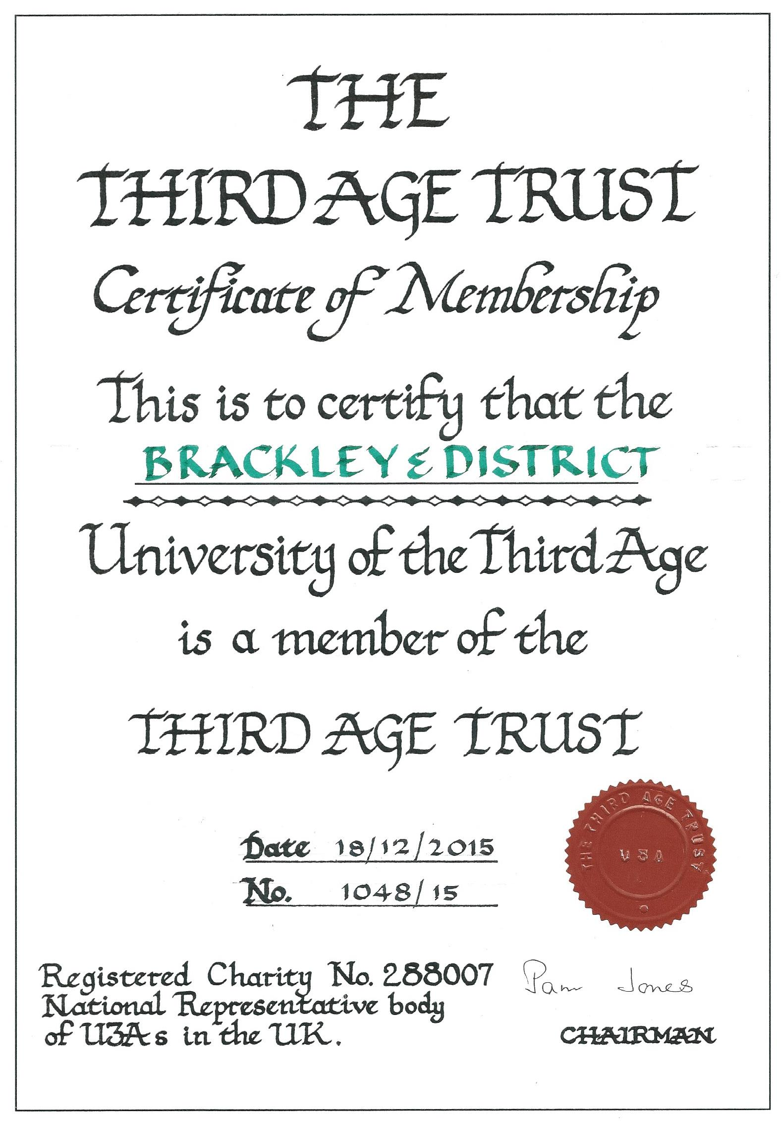 Certificate of U3A Membership