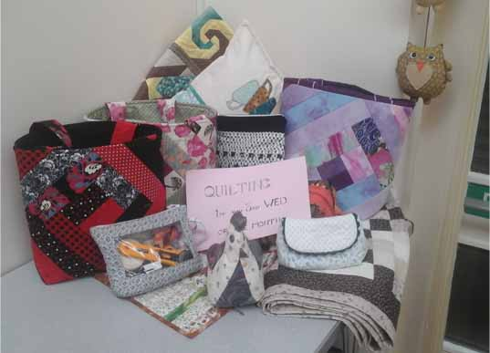 Asstd pieces made by the quilting group