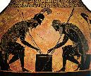 Achilles and Ajax playing a board game