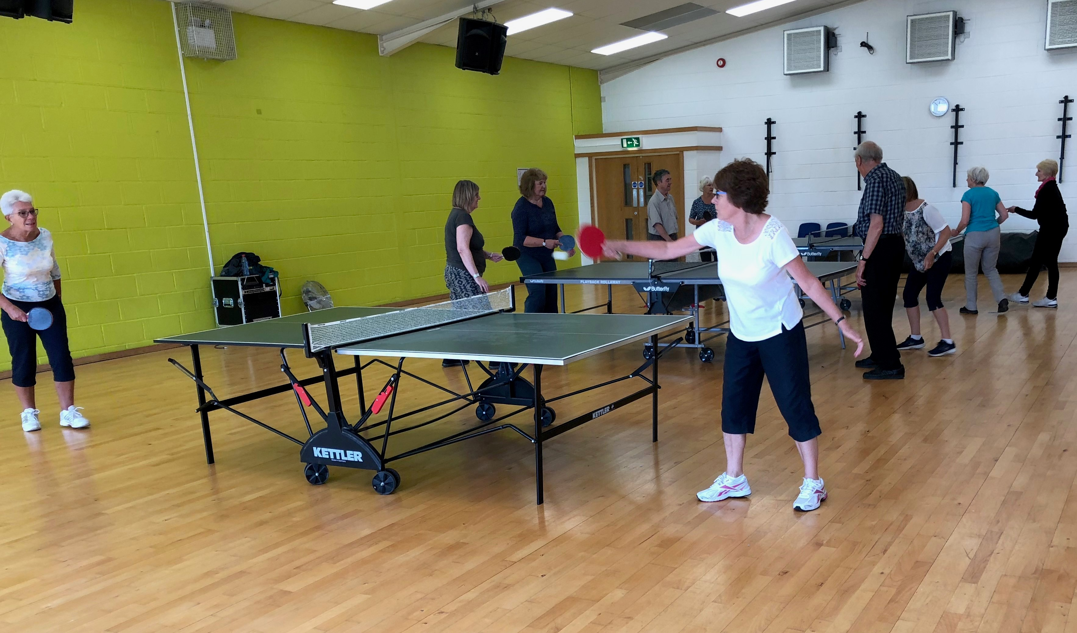 Table tennis at an indoor venue