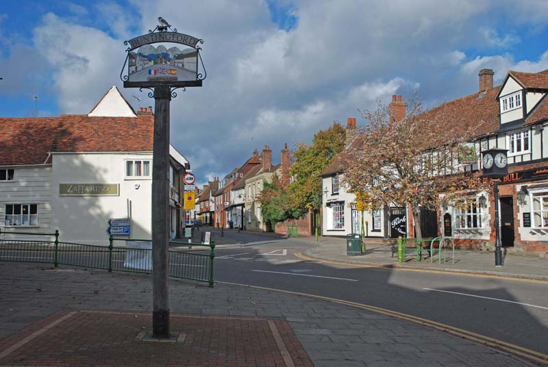 Buntingford town sign and High Street
