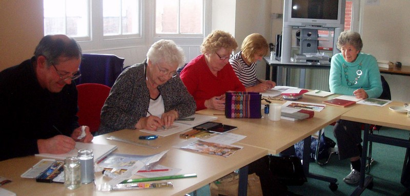 Members enjoying the current project
