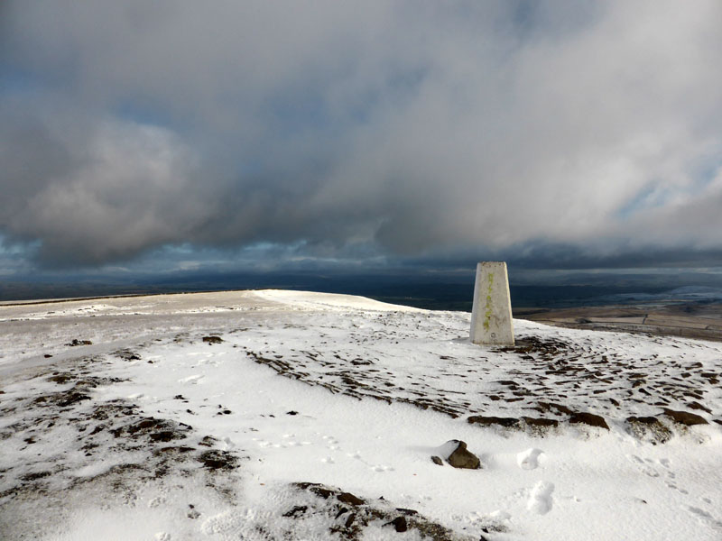 Pendle Hill under snow in February
