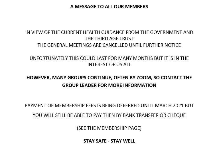 MESSAGE TO MEMBERS