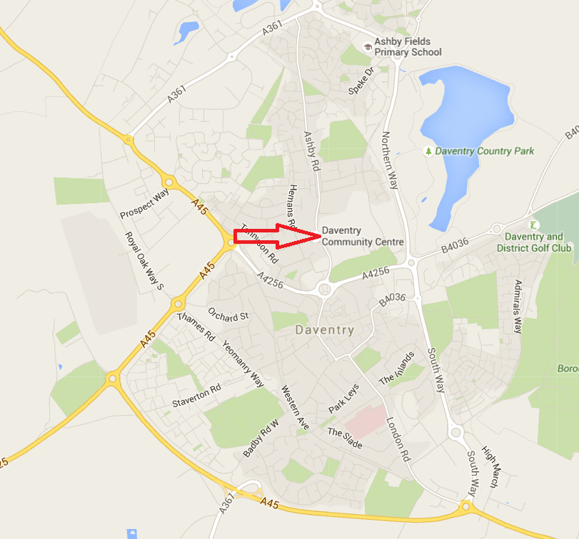 Daventry Community Centre Map