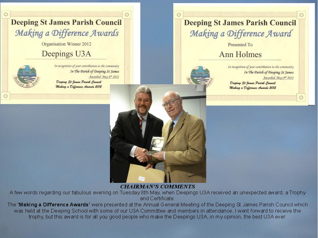 The Deepings U3A Award