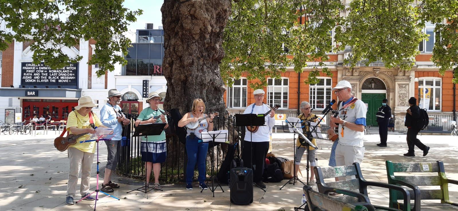 Ukulele band at Windrush Square
