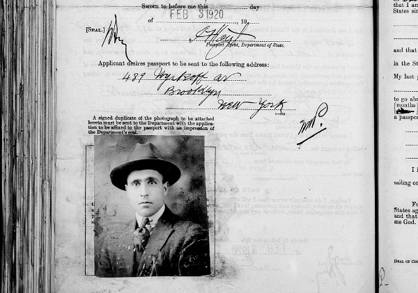 1920 US Passport Application