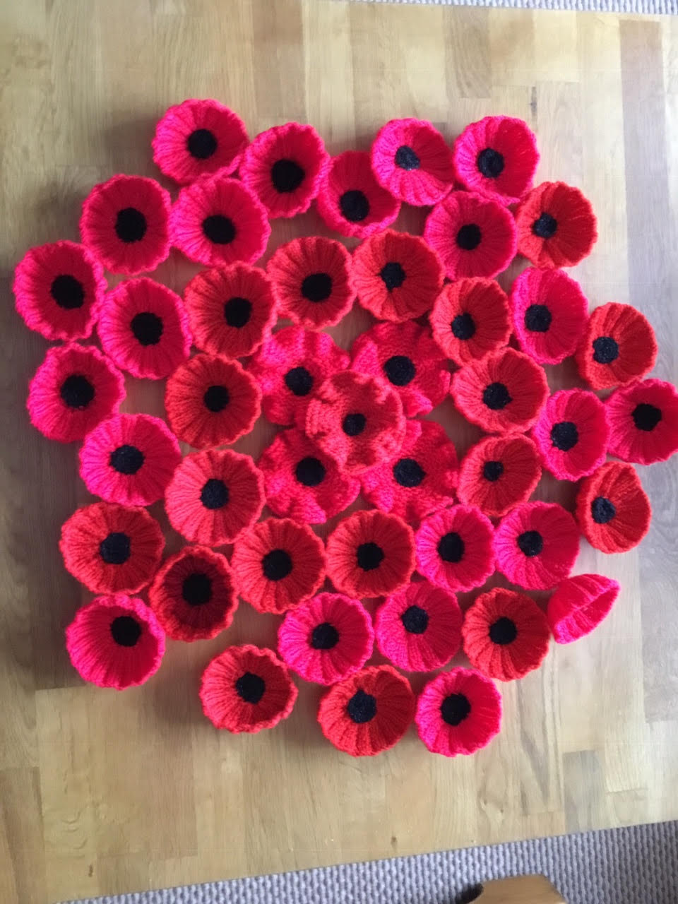 Knitted Poppies for Remembrance