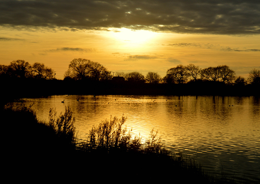 Sunset over Manley Mere