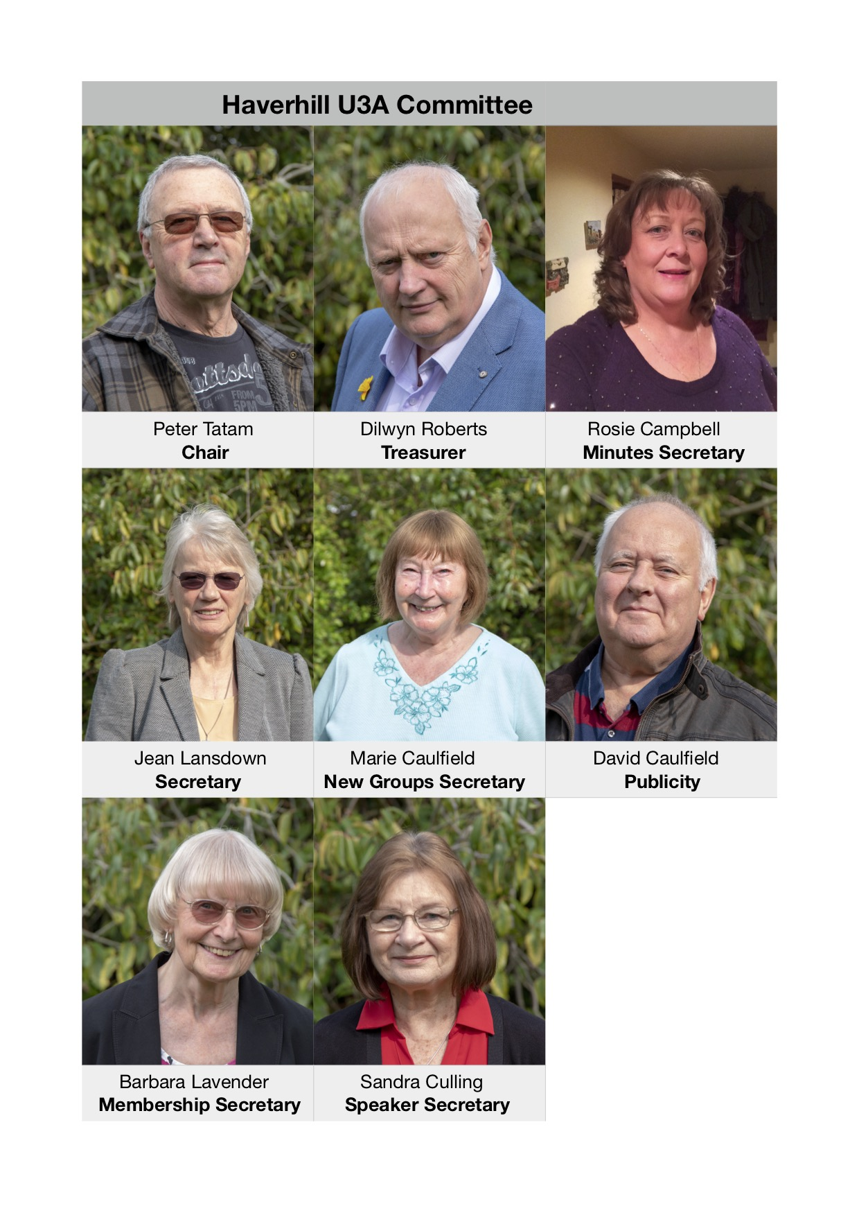 Do you recognise Haverhill U3A Committee