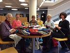 Group knitting session in October