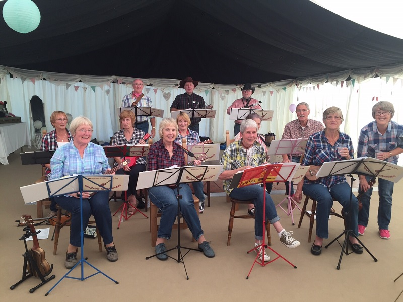 Ukulele group at a gig
