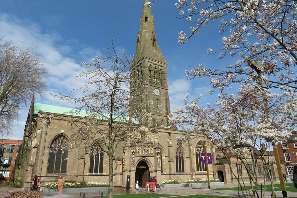 Leicester Cathedral with blossom
