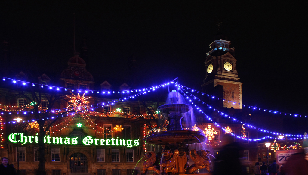 Leicester Town Hall Square at Christmas