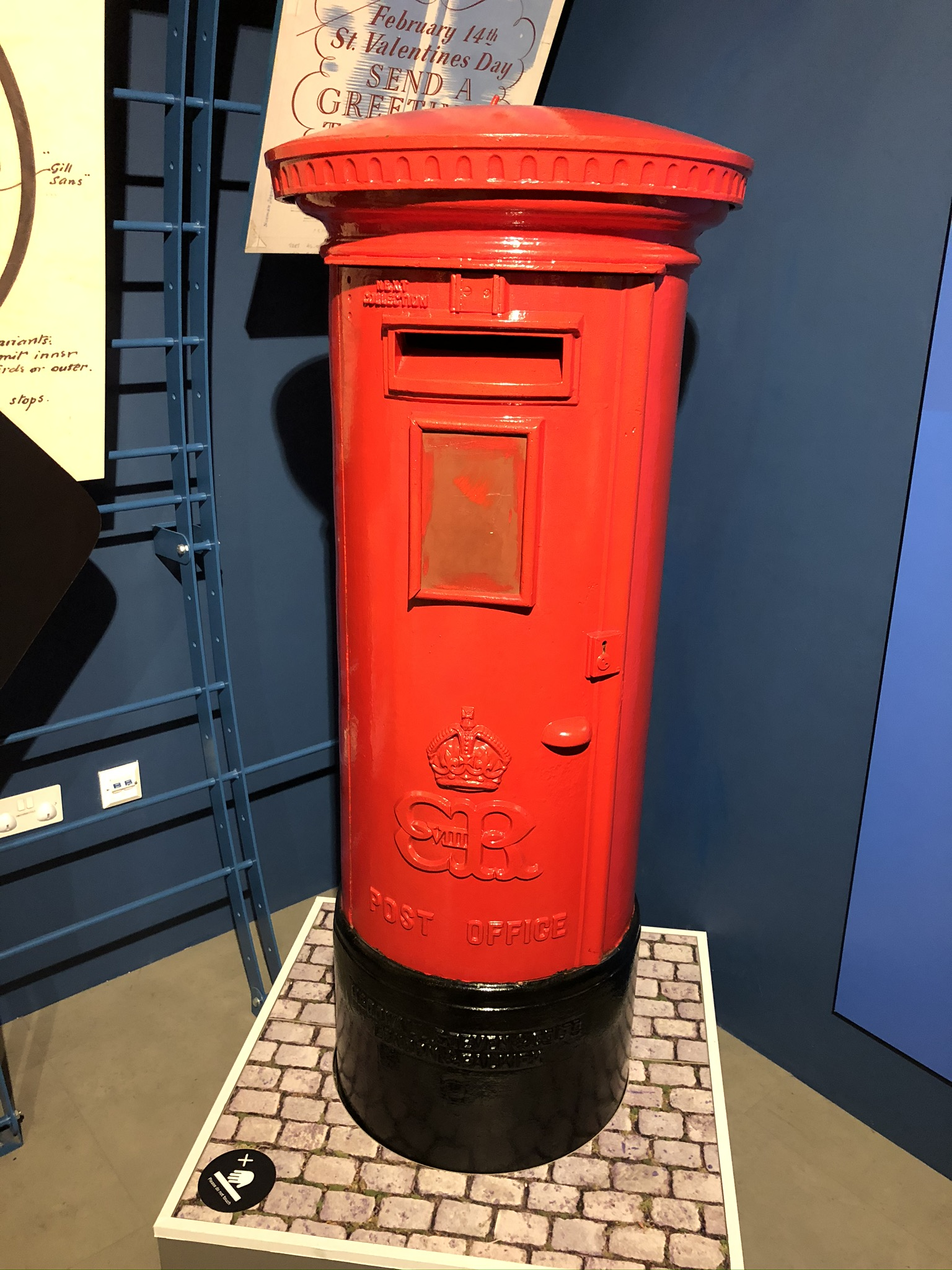 A traditional red pillar box