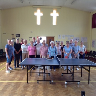 Table Tennis group with the new table