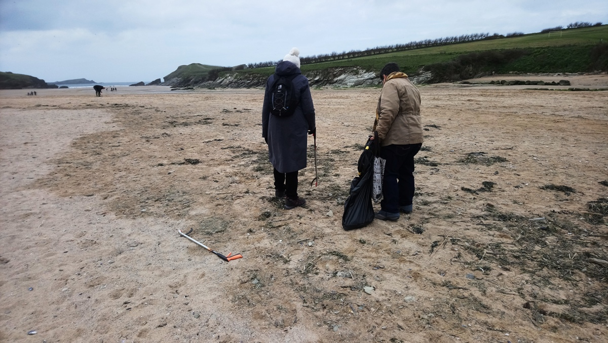 Beach cleaning on Porth Beach