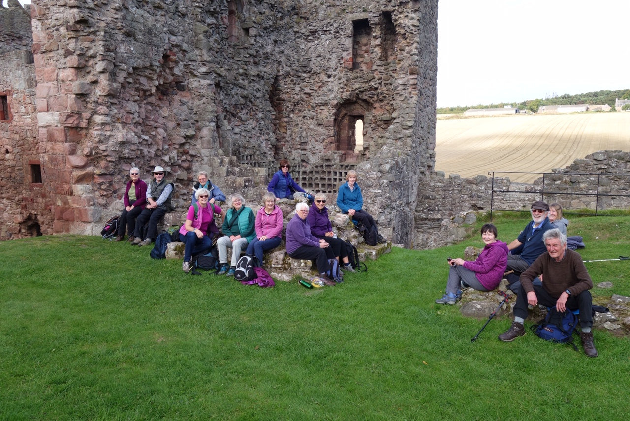 Walkers at Hailes Castle