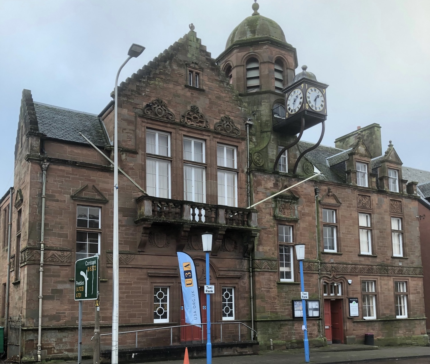 Penicuik Town Hall with U3A flag