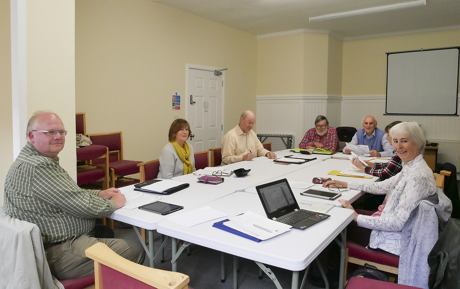 The committee meeting in our new room