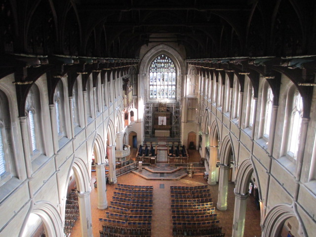 View of St Marys  interior from above.
