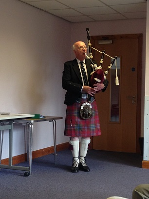 Stewart Playing the Bagpipes