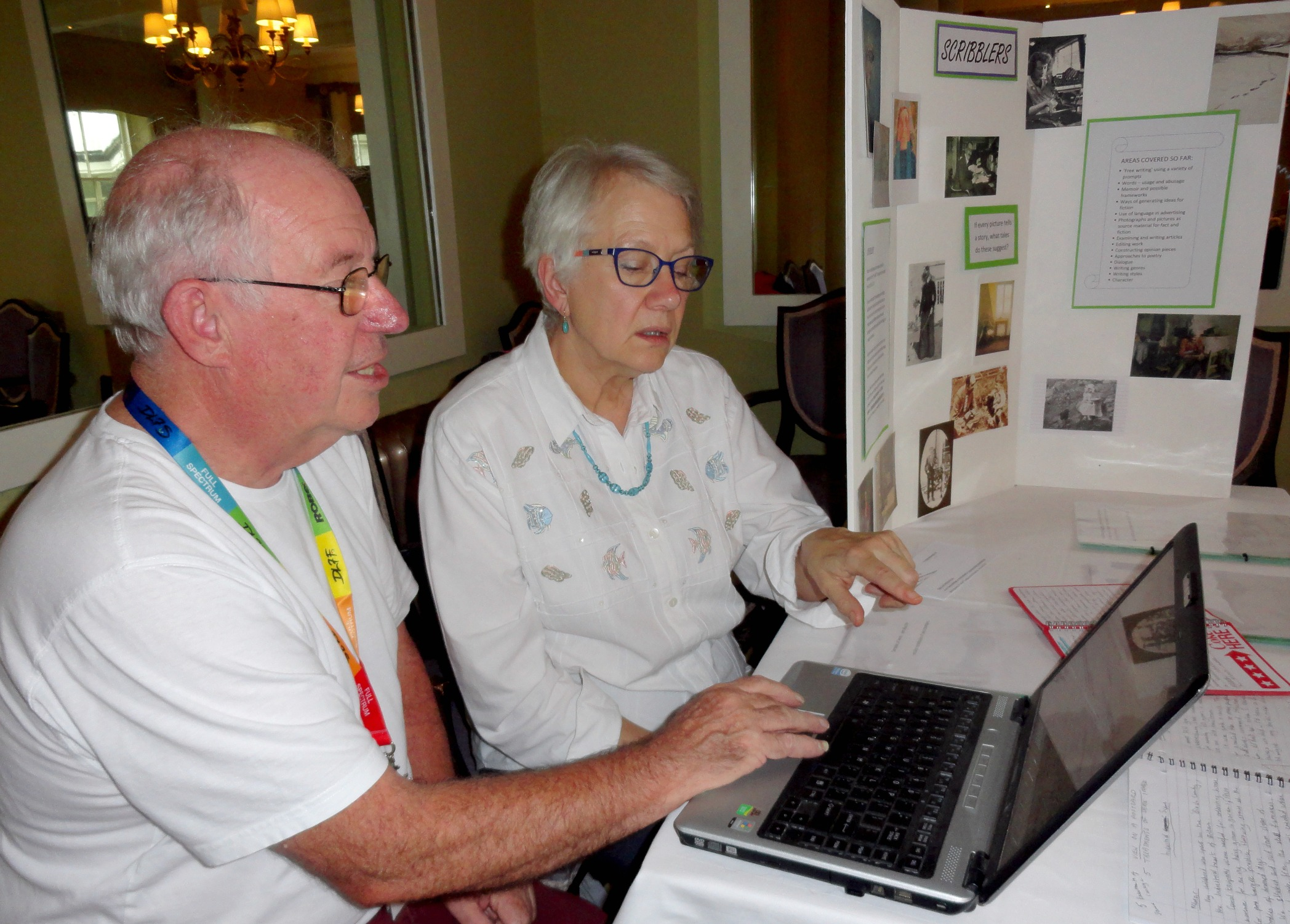 Sheila getting help with the web page