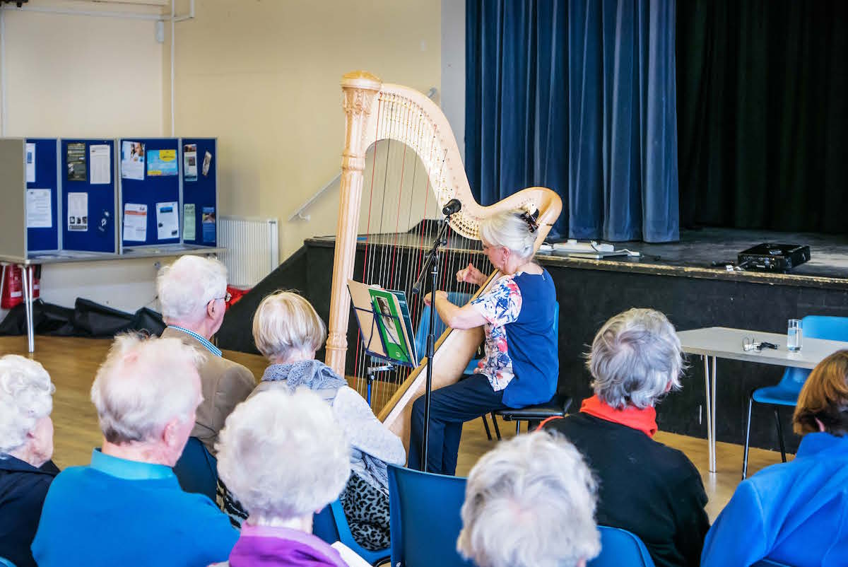 Harpist Sally Course playing for us