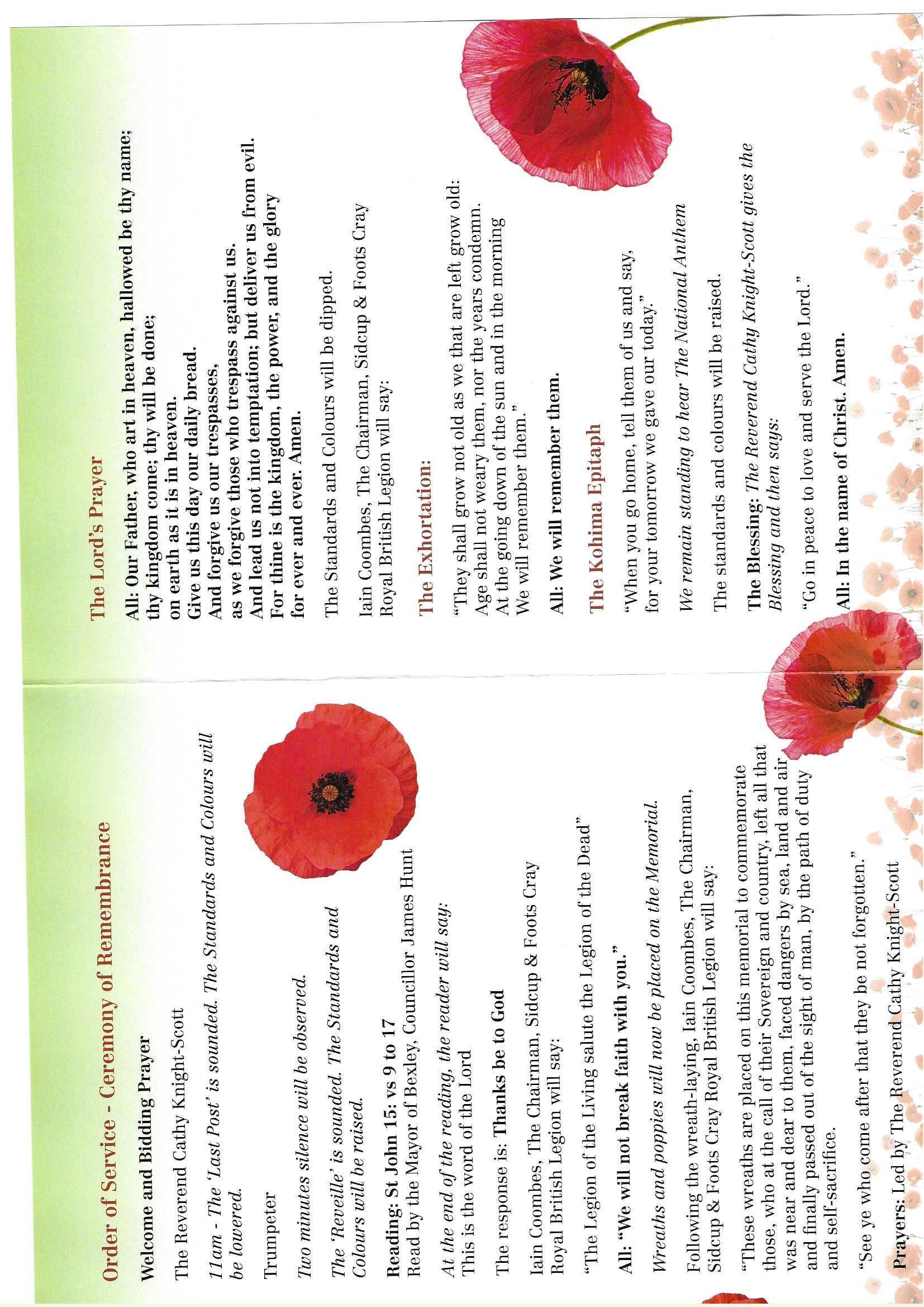 Remembrance Sunday Service,c.St.Johns