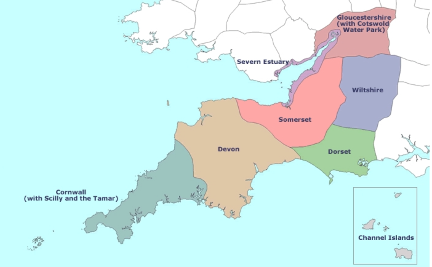 South West Region map
