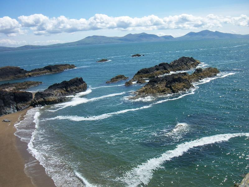 Llanddwyn looking across to Snowdonia
