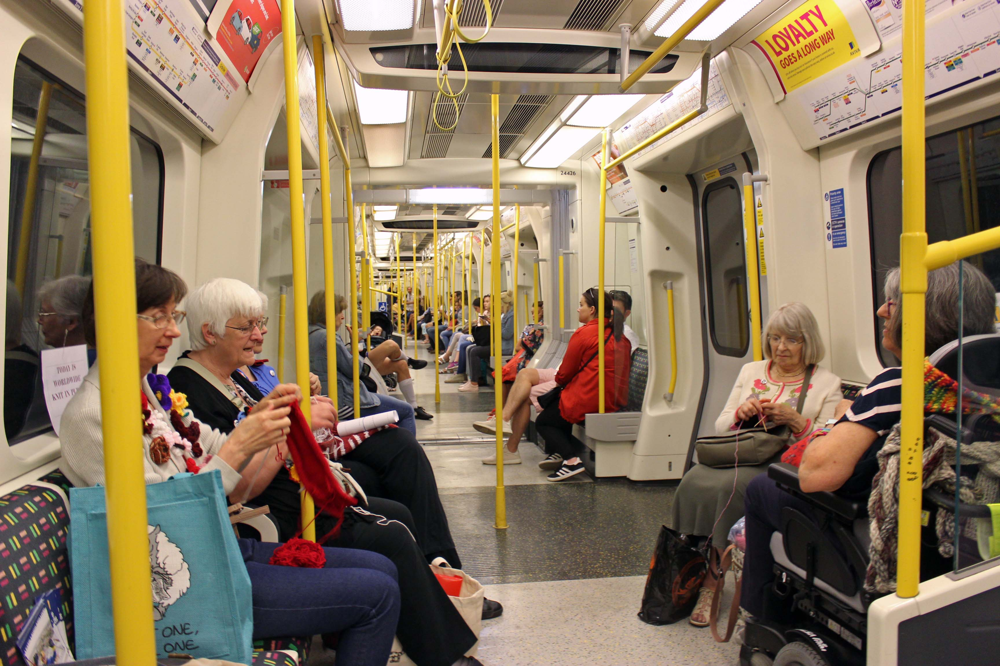 The crowded tube and quiet knitters