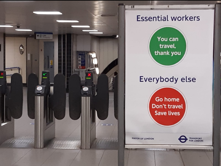 Tube travel, only for keyworkers