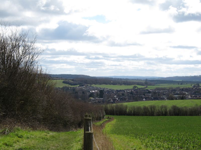 Looking down towards the town