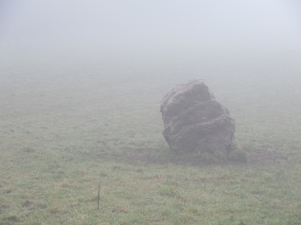 Standing stone in a foggy field